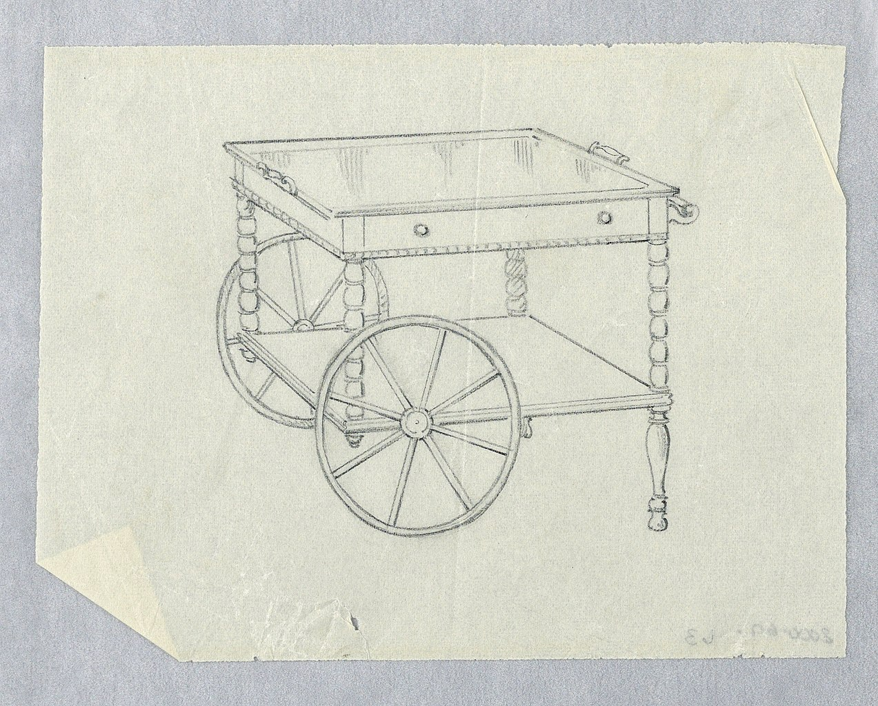 File Drawing Design For Rolling Serving Table With Two Legs