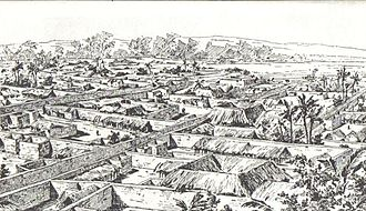 Benin Bronzes - Illustration of Benin City in 1897, drawn by a British official
