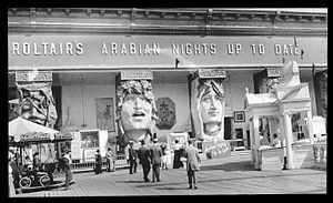 "Dreamland (amusement park) - ""Roltair's Arabian Nights Up To Date"" contained seven theaters corresponding to days of the week, each of which contained a magical illusion."