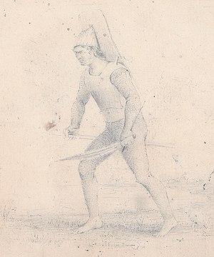Tabiteuea - A drawing by Alfred Thomas Agate featuring a warrior of Drummond Island in 1841