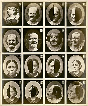 Facial expression - Photographs from the 1862 book Mécanisme de la Physionomie Humaine by Guillaume Duchenne. Through electric stimulation, he determined which muscles were responsible for different facial expressions. Charles Darwin would later republish some of these photographs in his own work on the subject, which compared facial expressions in humans to those in animals.