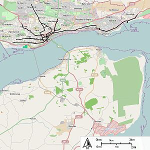 Dundee Corporation Tramways - Map of the routes of tramways in the Dundee area