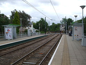 Dundonald Road tram stop - Image: Dundonald Road tramstop look east
