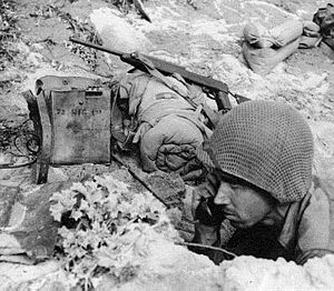 Field telephone - Soldier uses an EE-8 field telephone