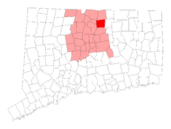 East Windsor's location in Hartford County, Connecticut