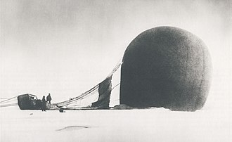 Andrée's Arctic balloon expedition - S. A. Andrée and Knut Frænkel with the balloon on the pack ice, photographed by the third expedition member, Nils Strindberg. The exposed film for this photograph and others from the failed 1897 expedition was recovered in 1930.