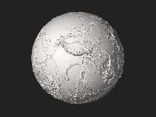 Reconstruction tridimensionnelle interactive de la terre sans eau, 20 fois exagérée.