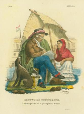 Scrivener - Public letter writer in Mexico, 1828, by Claudio Linati