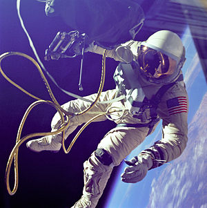 Gemini 4 - Edward H. White, the first American to perform extravehicular activity, outside of Gemini IV