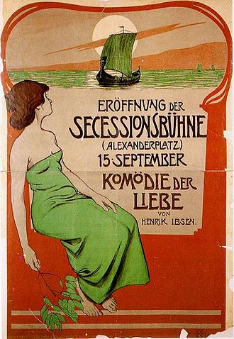 Love's Comedy - Poster to Love's Comedy (Komödie der Liebe), made by Edmund Edel (1863-1934) to the opening performance at Berliner Secessionsbühne 15 September 1900.