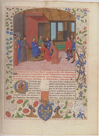 Edmund Beaufort, 2nd Duke of Somerset - Edmund surrenders to Charles VII at Rouen in 1449. Illuminated page from the Anciennes chroniques d'Angleterre, Jean de Wavrin.
