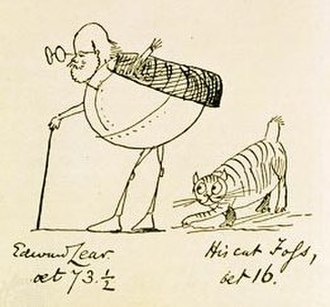 Surreal humour - Edward Lear, Aged 73 and a Half and His Cat Foss, Aged 16, is a lithograph by Edward Lear from 1885