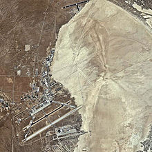 Rogers Dry Lake with Edwards AFB and Auxiliary Base South in the bottom left and Auxiliary Base North at the top of the image