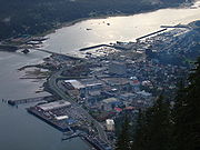 Juneau as photographed from the Mount Roberts Tramway.