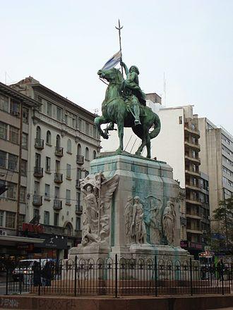 Cordón - The El Gaucho monument, a national symbol, at the West entrance of Cordón, on 18 de Julio Av.