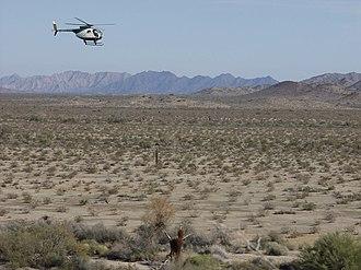El Camino del Diablo - Border Patrol helicopter along El Camino del Diablo, 2004