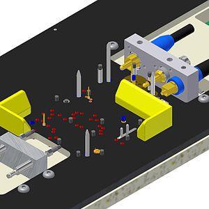 Test fixture - Side connectors, centering pins, test needles, pre-centering parts.