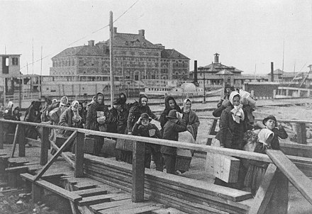 Immigrants at Ellis Island, New York Harbor, 1902 Ellis island 1902.jpg