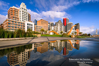 Embarcadero (San Francisco) - Rincon Park and Cupid's Span with the San Francisco skyline and The Embarcadero in the background.