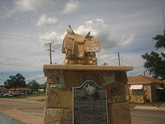 Empty Saddle Monument at the crossroads of Dalhart (U.S. Highways 87, 385, and 54) has honored the memory of the cowboys of the defunct XIT Ranch.