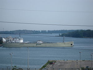 English River backs in to the Polson slip to moor at the La Farge cement silos -ac.jpg