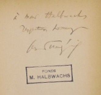 Maurice Halbwachs - Book signed by Georges Dumézil and offered to Maurice Halbwachs in the Human and Social Sciences Library Paris Descartes-CNRS, Maurice Halbwachs Collection.