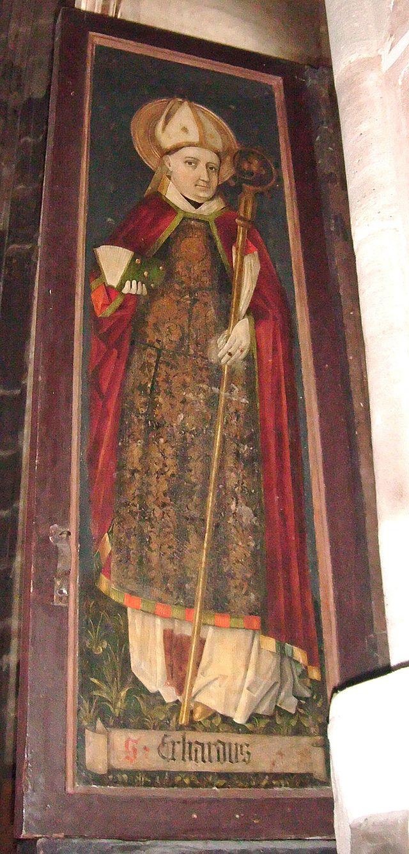 St Erhard på sidefløyen til en gotisk altertavle i kirken St Lorenz i Nürnberg (ca 1450)