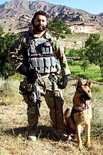 Eric Barrios with military working dog in Afghanistan