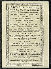 Front cover of book: Escuela Música según la práctica moderna published in 1723-1724