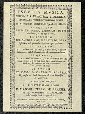 Music of Spain - Front cover of book: Escuela Música según la práctica moderna published in 1723-1724