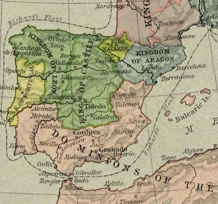 Navarre (light green) in 1190 Espana 1190.jpg