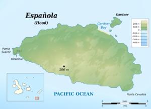 Española Island - Topographic map of Española