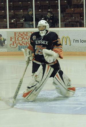 Essex 73's - Essex goalie warming up during 2013 playoffs.  Wearing black road jersey.