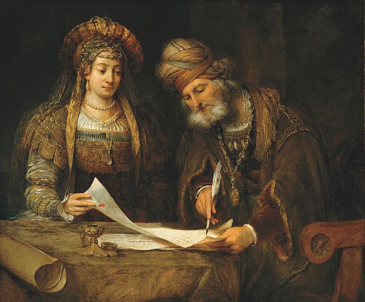 File:Ester y Mardoqueo escribiendo la primera carta del Purim (Ester, 9-20-21) - Aert de GELDER - Google Cultural Institute.jpg