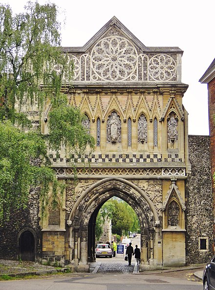 St Ethelbert's Gate at Tombland was built as penance for riots which occurred in the 1270s. Ethelbert Gate from Tombland, Norwich, UK.jpg