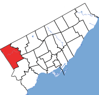 Etobicoke North (provincial electoral district) - Etobicoke North in relation to other Toronto electoral districts