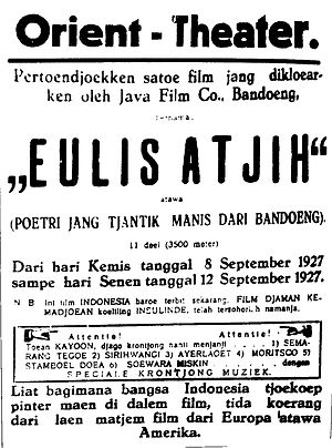 Joehana - Newspaper advertisement for Eulis Atjih (1927), adapted from Joehana's novel