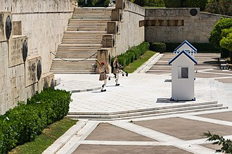 Tomb of the Unknown Soldier (Athens) - Side view, showing the steps with inscribed locations