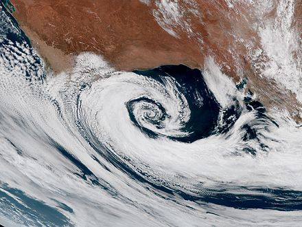 Extratropical cyclones spin clockwise in the Southern Hemisphere, just like tropical cyclones. Extratropical cyclone off Australia 2016-12-28 0230Z.jpg