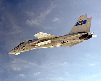 AIM-120 AMRAAM - Grumman F-14 Tomcat carrying an AMRAAM during a 1982 test