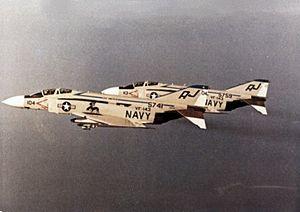 F-4J Phantoms VF-143 in flight 1974.jpg
