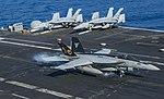 FA-18E Super Hornet of VFA-31 lands aboard USS George H.W. Bush (CVN-77) on 20 July 2017.JPG