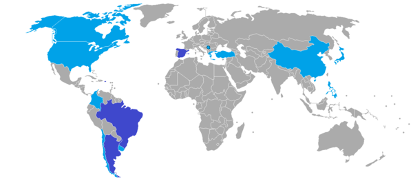 World map depicting the number of times a country has hosted the World Cup. Dark blue: twice; light blue: once. FIBA World Cup host countries.png