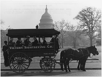Horses in the United States - Horse-drawn sightseeing bus, 1942