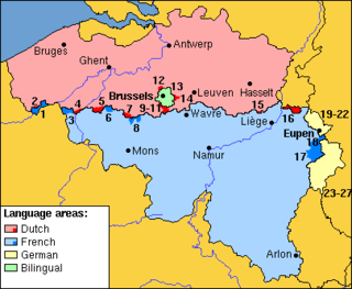 Municipalities with language facilities Belgium