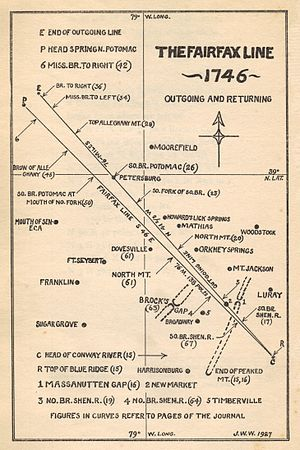 Fairfax Line - The Fairfax Line; Source: The Fairfax Line: Thomas Lewis's Journal of 1746; Footnotes and index by John Wayland, Newmarket, Virginia: The Henkel Press (1925 publication).