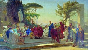 Horace - Horace reads before Maecenas, by Fyodor Bronnikov