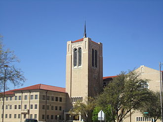 Lubbock has a large number of churches, including the downtown First Baptist congregation. First Baptist Church, Lubbock, TX IMG 1700.JPG