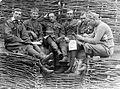 First World War, tableau, men, uniform, smoking, reading, trench Fortepan 19492.jpg