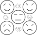 Simple emoticons of the five temperaments: San...